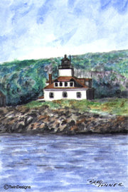 """Egg Rock Lighthouse Maine"" Boxed Note Cards Original Watercolor by Brad Tonner"