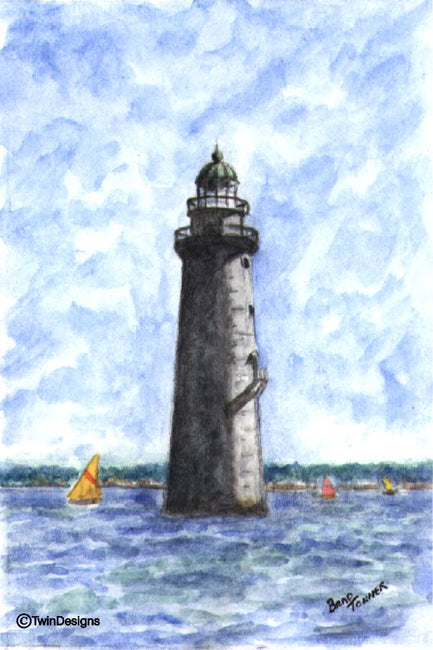 """Minot's Ledge Lighthouse Massachusetts"" Boxed Note Cards Original Watercolors by Brad Tonner"