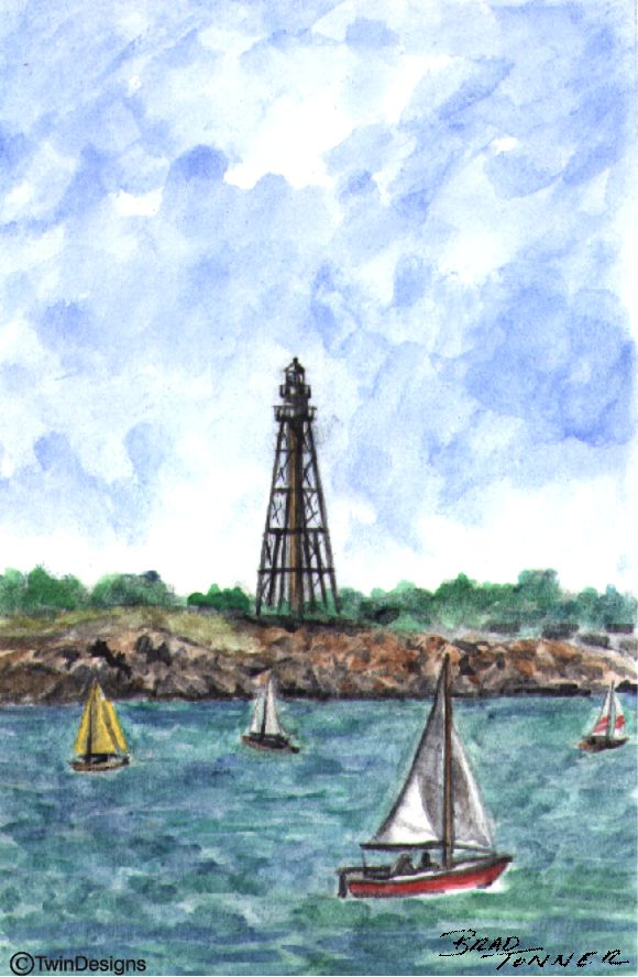 """Marblehead Lighthouse Massachusetts"" Boxed Note Cards Original Watercolor by Brad Tonner"