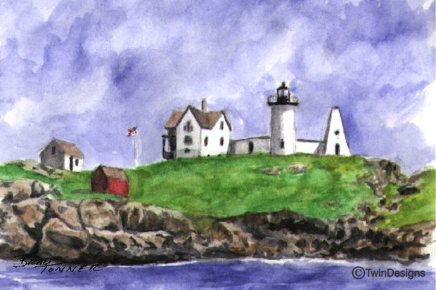 """Nubble Lighthouse Maine"" Boxed Note Cards Original Watercolor by Brad Tonner"