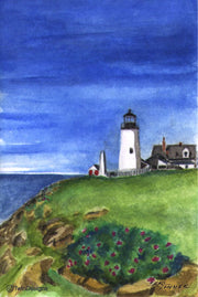 """Pemaquid Point Lighthouse Maine"" Boxed Note Cards Original Watercolor by Brad Tonner"