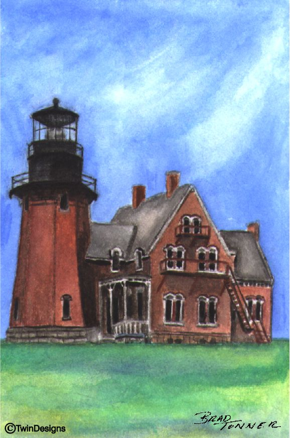 """Southeast Lighthouse Block Island"" Boxed Notecards Original Watercolor by Brad Tonner"