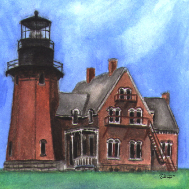 """ Southeast Lighthouse Block Island"" Ceramic Trivet Original Watercolor by Brad Tonner"