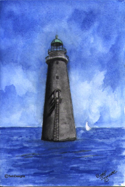 """Minot's Lighthouse Massachusetts"" Boxed Note Cards Original Watercolor by Brad Toner"