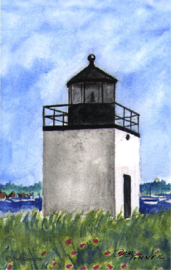 """Derby Wharf Lighthouse Massachusetts"" Boxed Note Cards Original Watercolor by Brad Tonner"