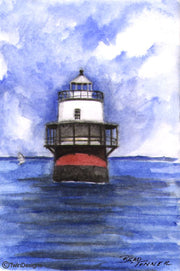 """Bug Lighthouse Massachusetts"" Boxed Note Cards Original Watercolor by Brad Tonner"