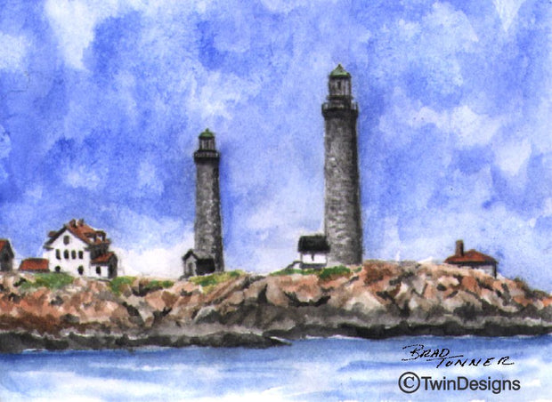 """Twin Lighthouses Rockport Massachusetts"" Boxed Note Cards Original Watercolor by Brad Tonner"