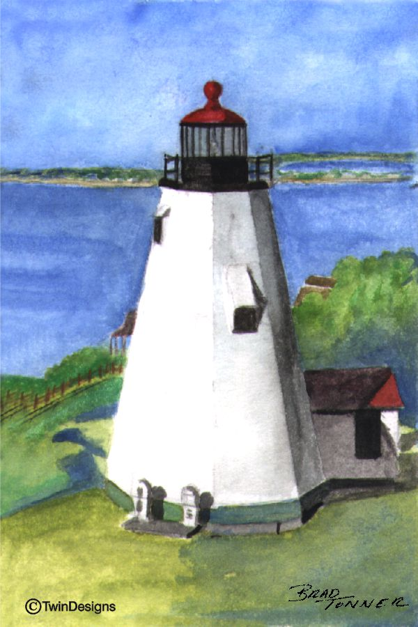 """Gurnet Lighthouse Massachusetts"" Boxed Note Cards Original Watercolor by Brad Tonner"