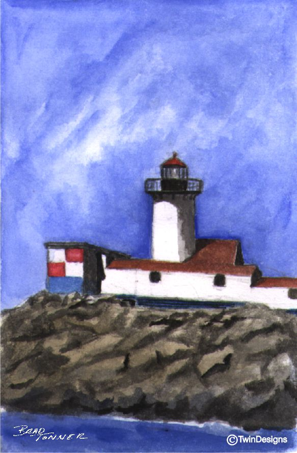 """Eastern Point Lighthouse Massachusetts"" Boxed Noted Cards Original Watercolor by Brad Tonner"