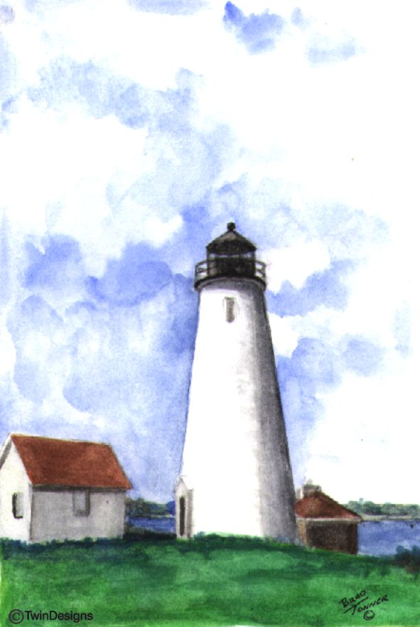 """Baker's Island Lighthouse Massachusetts"" Boxed Note Cards Original Watercolor by Brad Tonner"