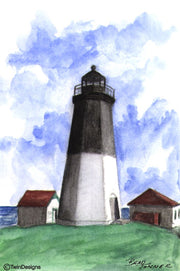 """Point Judith Lighthouse Rhode Island"" Boxed Note Cards Original Watercolor by Brad Tonner"