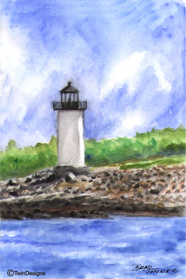 """Straitsmouth Lighthouse Rockport Massachusetts"" Boxed Note Cards Original Watercolor by Brad Tonner"