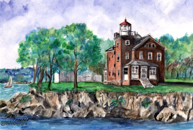 """South Bass Island Lighthouse Ohio"" Boxed Note Cards Original Watercolor by Brad Tonner"