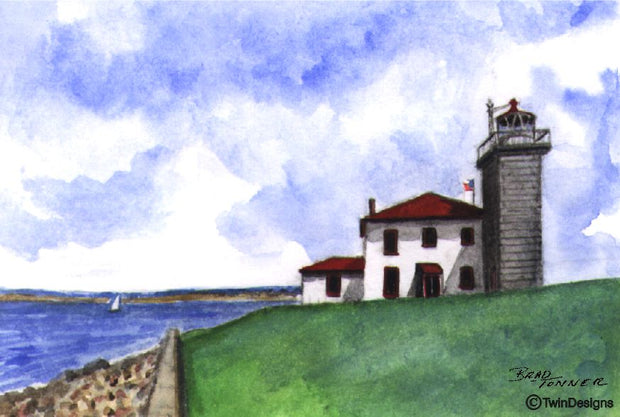 """Watch Hill Lighthouse Rhode Island"" Boxed Note Cards Original Watercolor by Brad Tonner"
