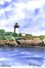 """Ten Pound Island Lighthouse Massachusetts"" Boxed Note Cards Original Watercolor by Brad Tonner"