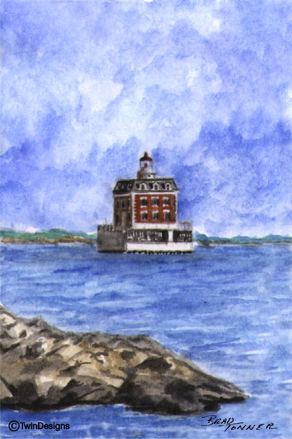"""New London Ledge Lighthouse Connecticut"" Boxed Note Cards Original Watercolor by Brad Tonner"