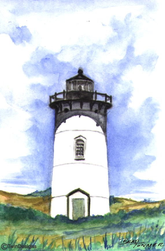 """Race Point Lighthouse Cape Cod"" Boxed Note Cards Original Watercolor by Brad Tonner"