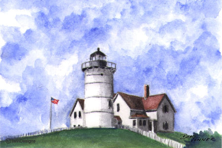 """Nobska Point Lighthouse Cape Cod"" Boxed Note Cards Original Watercolor by Brad Tonner"