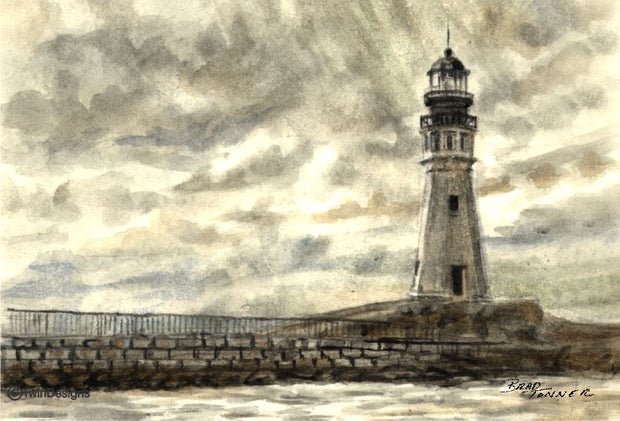 """Buffalo Lighthouse New York"" Boxed Note Cards Original Watercolor by Brad Tonner"