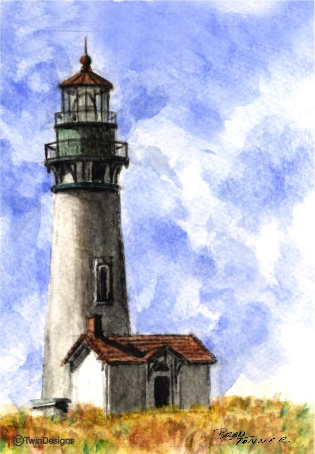 "Yaquina Head Lighthouse Oregon"" Boxed Note Cards Original Watercolor by Brad Tonner"