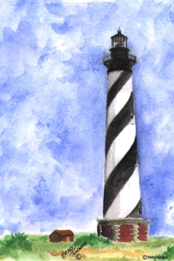 """Cape Hatteras Lighthouse North Carolina"" Boxed Note Cards Original Watercolor by Brad Tonner"