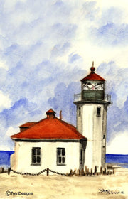 """Alki Point Lighthouse Washington"" Boxed Note Cards Original Watercolor by Brad Tonner"