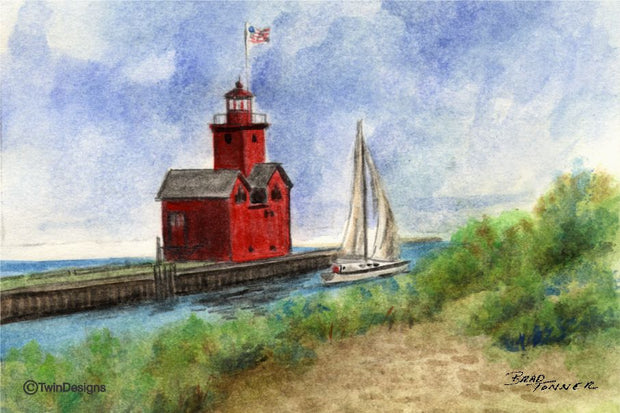 """Big Red Lighthouse Michigan"" Boxed Note Cards Original Watercolor by Brad Tonner"