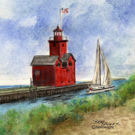 """Big Red Lighthouse Michigan"" Ceramic Trivet Original Watercolor by Brad Tonner"