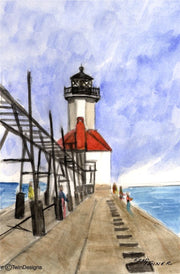 """St. Joseph North Pier Lighthouse Michigan"" Boxed Note Cards Original Watercolor by Brad Tonner"