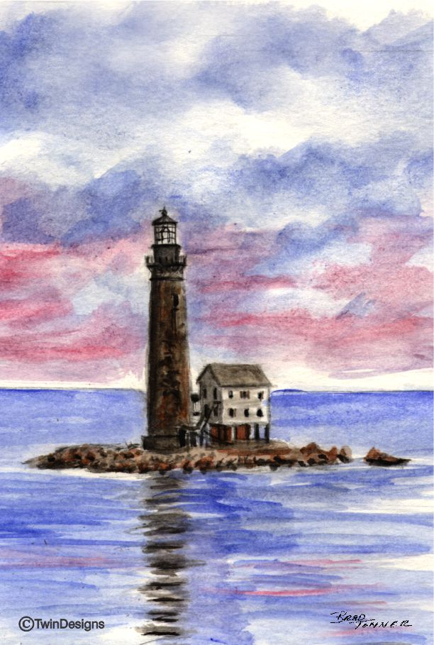 """Sand Island Lighthouse Alabama"" Boxed Note Cards Original Watercolor by Brad Tonner"