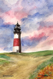 """Sankaty Head Lighthouse Nantucket"" Boxed Note Cards Original Watercolor by Brad Tonner"