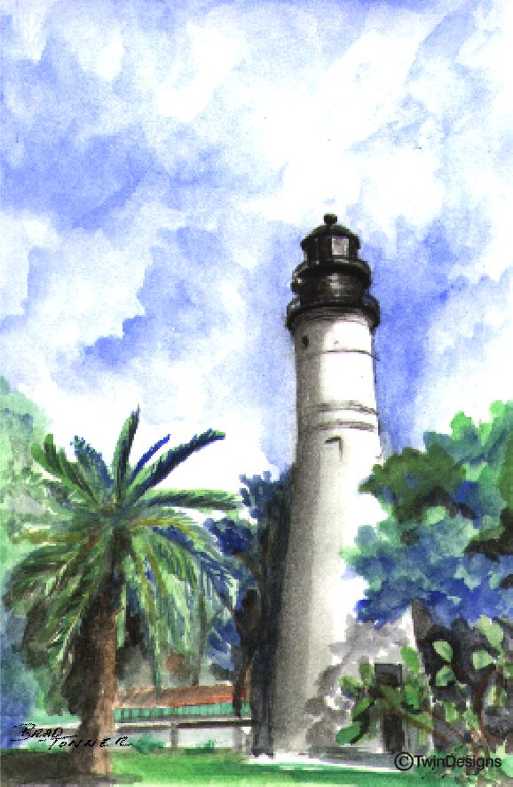 """Key West Lighthouse Florida"" Boxed Note Cards Original Watercolor by Brad Tonner"