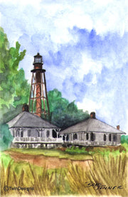 """Sanibel Island Lighthouse Florida"" Boxed Note Cards Original Watercolor by Brad Tonner"