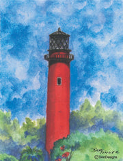 """Jupiter Inlet Lighthouse Florida"" Boxed Note Cards Original Watercolor by Brad Tonner"