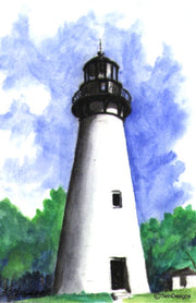 """Amelia Island Lighthouse Florida"" Boxed Note Cards Original Watercolor by Brad Tonner"