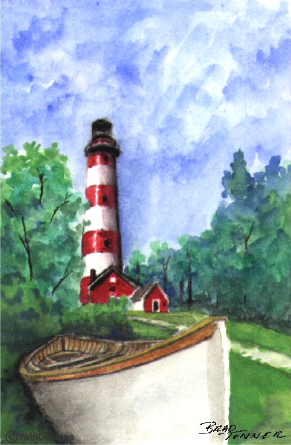 """Assateague Island Lighthouse"" Boxed Note Cards Original Watercolor by Brad Tonner"