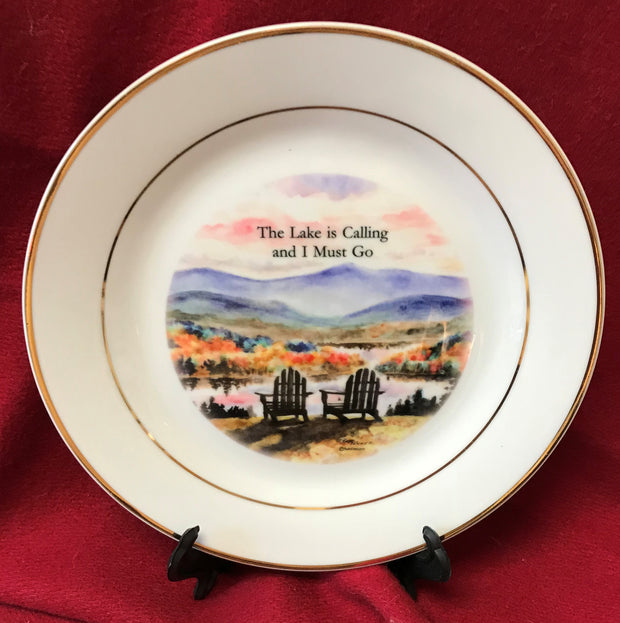 """The Lake is Calling"" 8""  China Plate featuring an original watercolor by Brad Tonner"