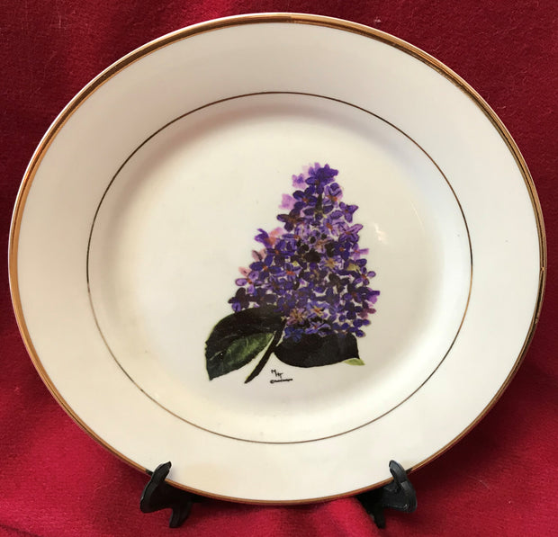 """Lilac"" 8""  China Plate featuring an original painting by Margery Tonner"
