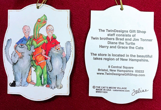 Cat's Meow TwinDesigns Logo Ornament Featuring Brad and Jim, Diane the Turtle and Harry and Grace the Cat!