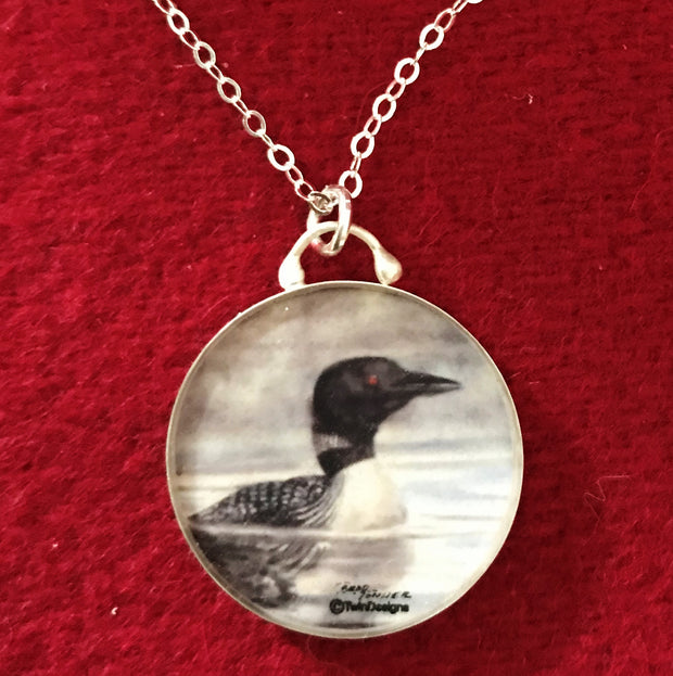 Sterling Silver Enameled Loon Pendant Jewelry
