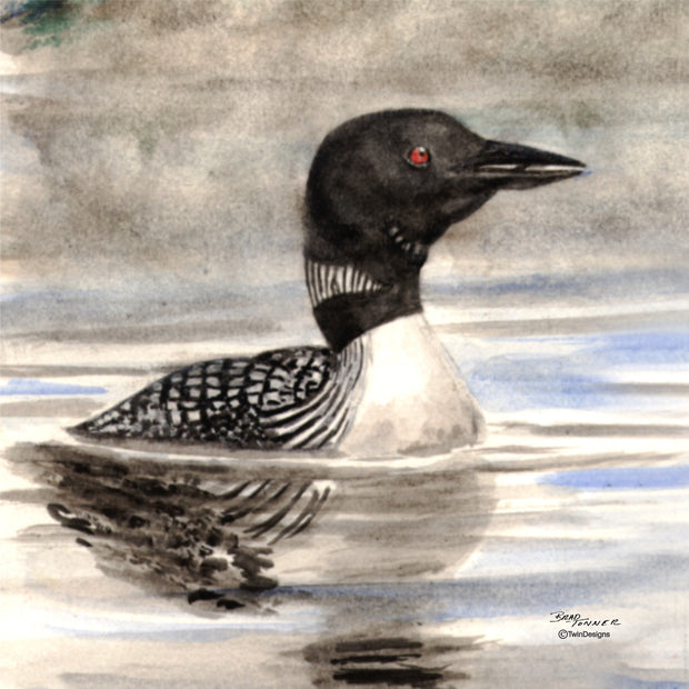 """Loon"" Ceramic Tile Trivet  Original Watercolor by Brad Tonner. 6"" x 6"" Cork Backing."