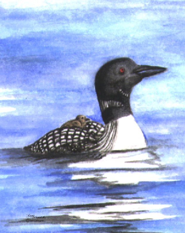 Loon with Baby Note Cards