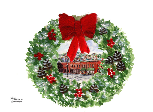 """Merry Christmas Bristol, New Hampshire"" Boxed Christmas Cards Original Watercolor by Brad Tonner"