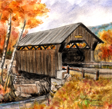 """Fall Covered Bridge"" Ceramic Tile Trivet"