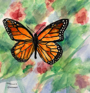 """Butterfly"" Ceramic Tile Trivet  Original Watercolor by Brad Tonner. 6"" x 6"" Cork Backing."