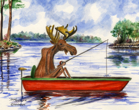 Fishing Moose Note Cards