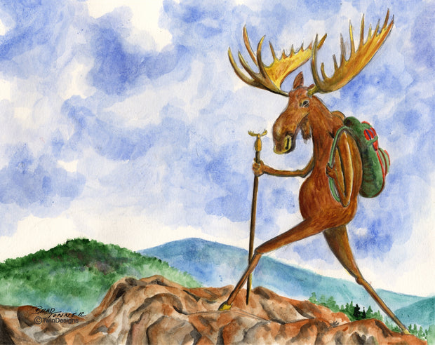 Moose Hiking Note Cards