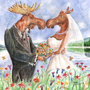 """Moose Wedding"" Ceramic Tile Trivet"