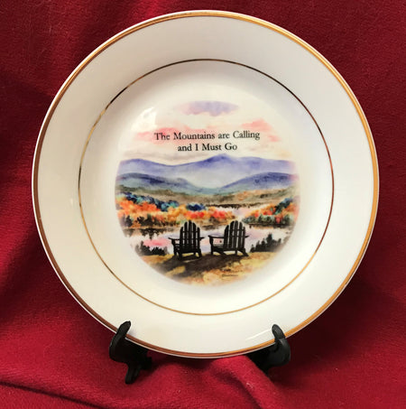 """The Mountains are Calling"" 8""  China Plate featuring an original watercolor by Brad Tonner"