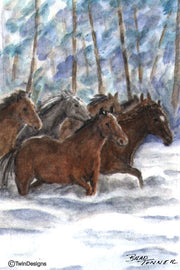 """Wild Horses"" Note Cards Original Watercolor by Brad Tonner"